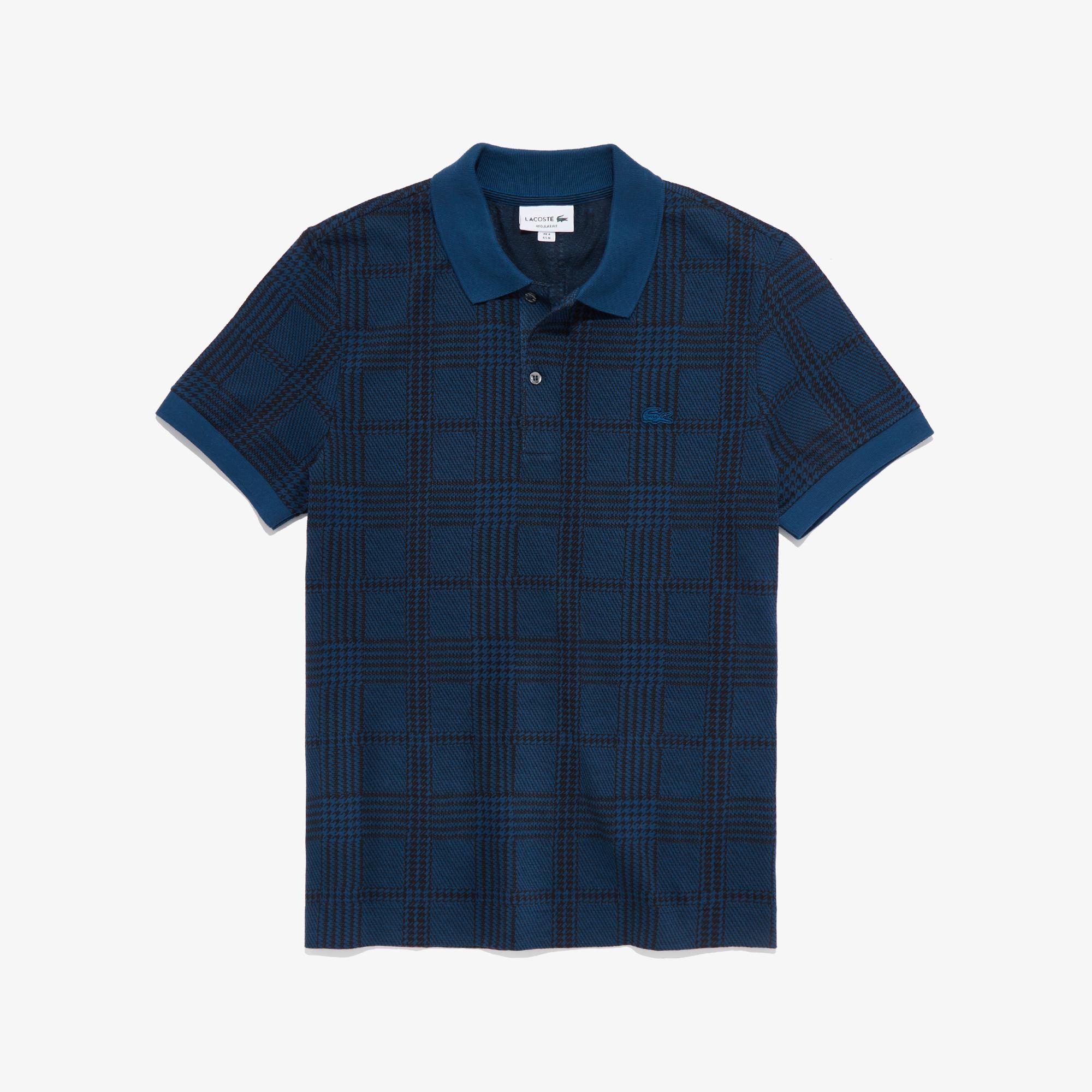Lacoste Erkek Regular Fit Ekose Desenli Mavi Polo