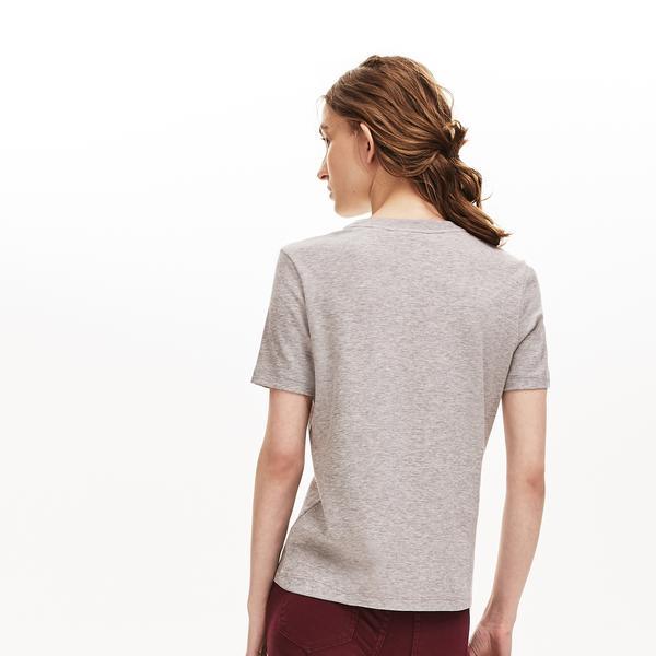Lacoste Kadın Baskılı Gri T-Shirt