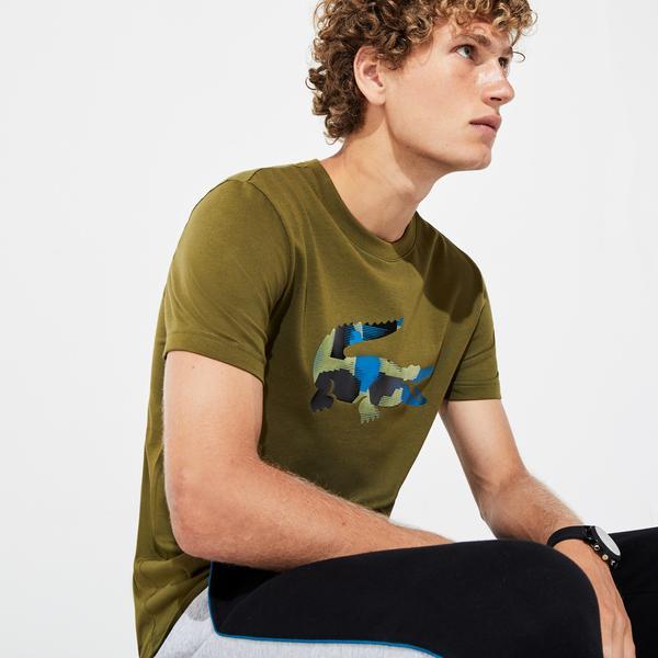 Lacoste Sport Erkek Timsah Baskılı Yeşil T-Shirt