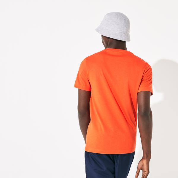 Lacoste Sport Erkek Renkli Timsah Baskılı Turuncu T-Shirt