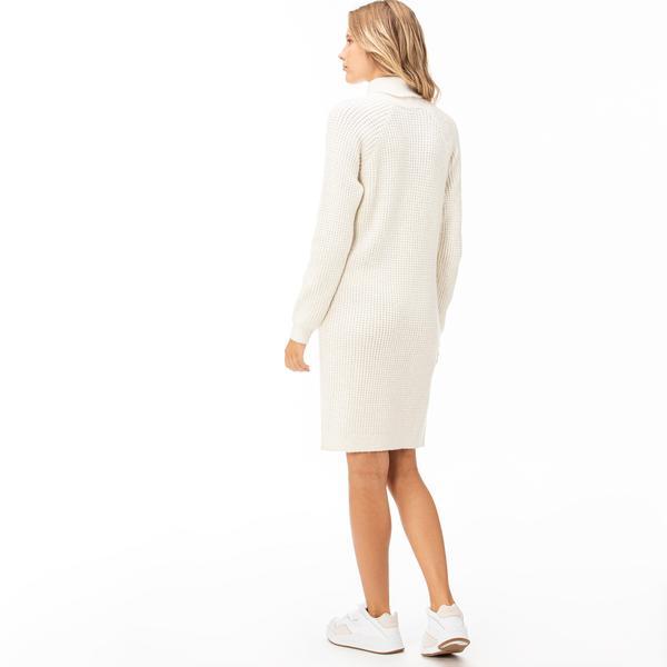 Lacoste Kadın Boğazlı Bej Elbise