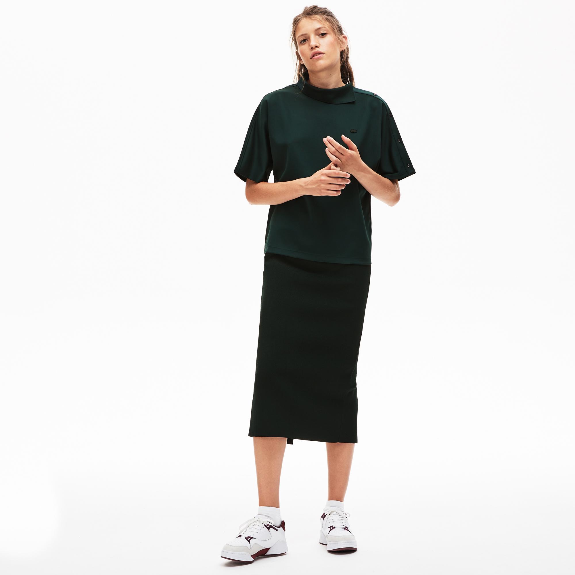 Lacoste L!VE Kadın Boxy Fit Yeşil Polo