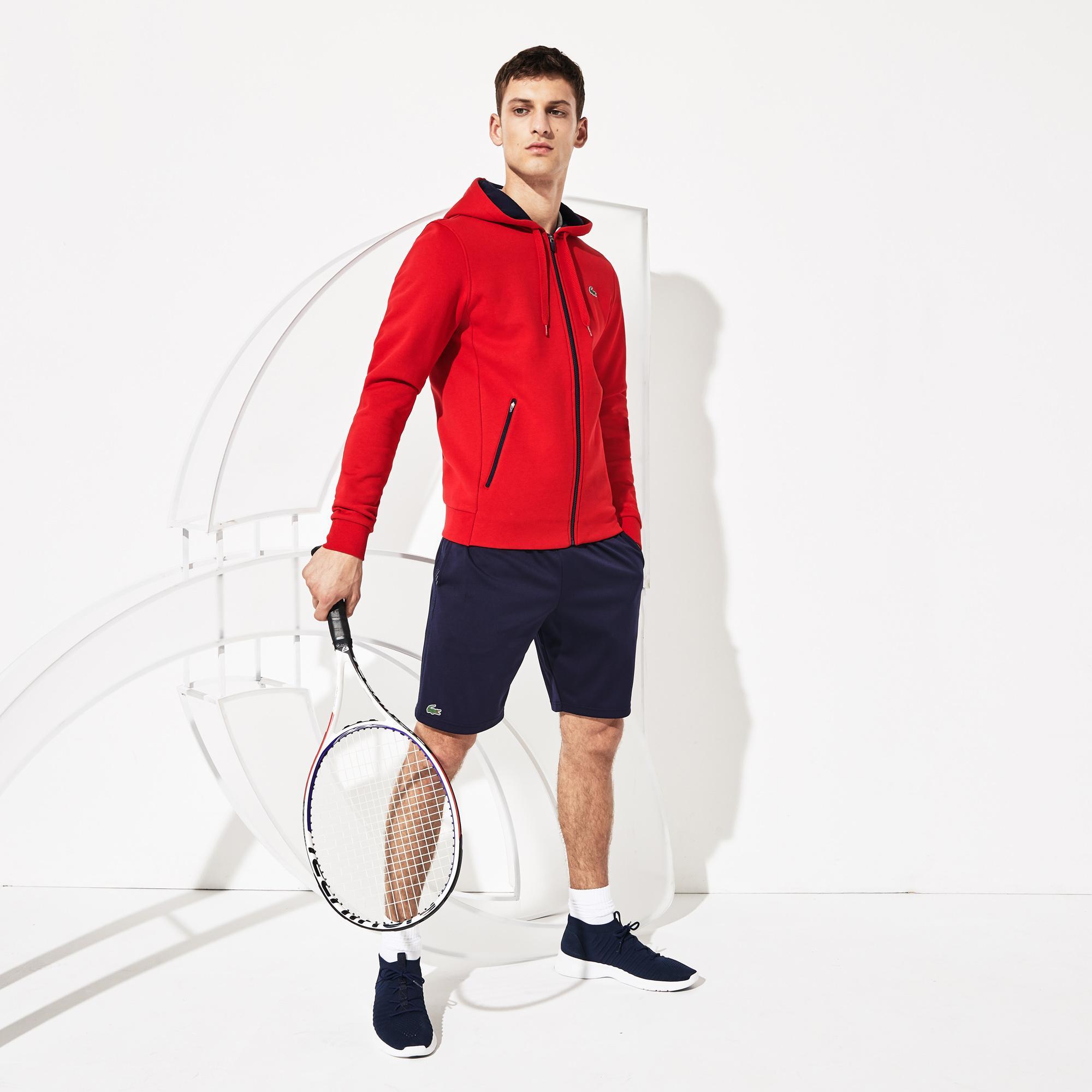 Lacoste Novak Djokovic Erkek Baskılı Kapüşonlu Kırmızı Sweatshirt