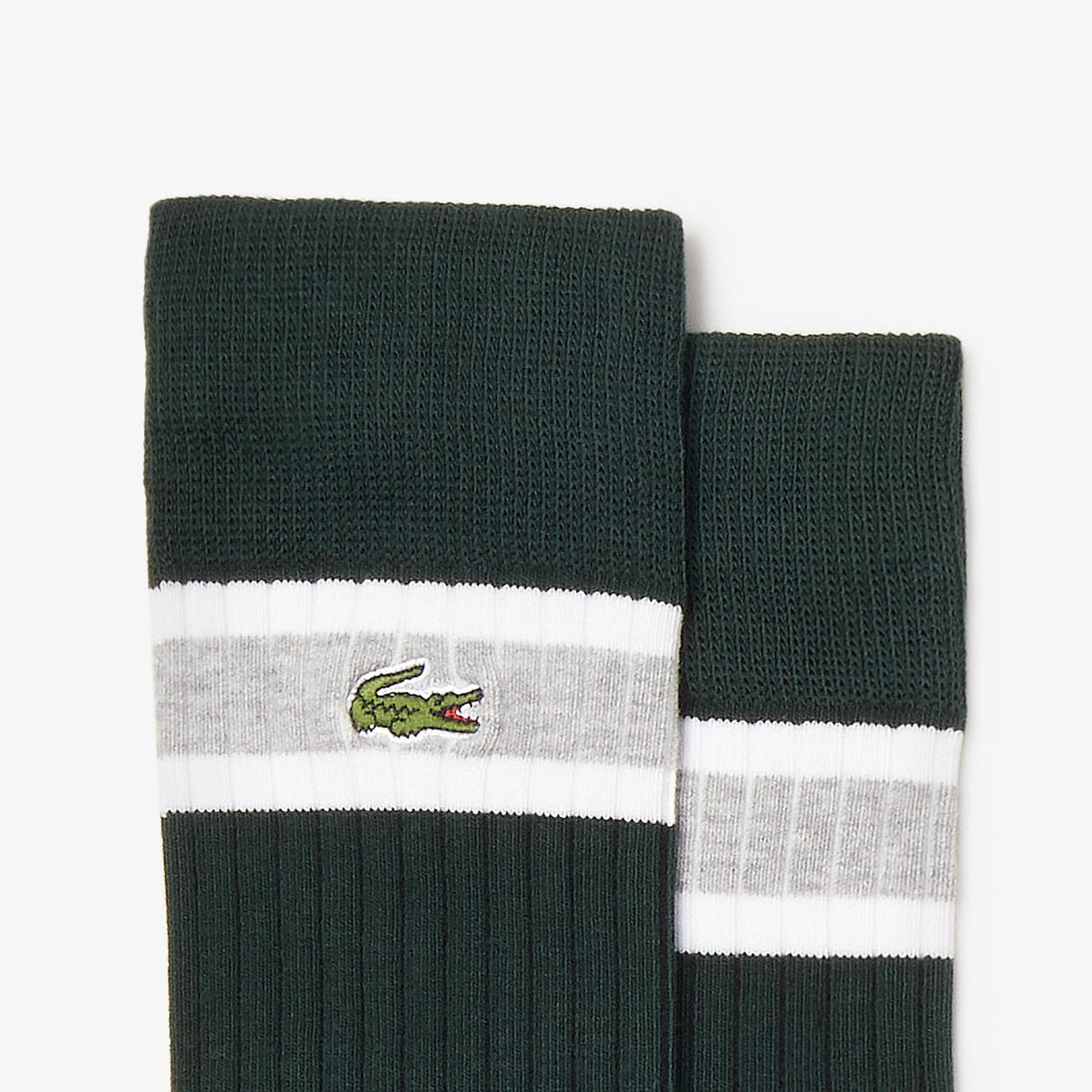 Lacoste Unisex Yeşil - Beyaz - Gri 3'lü Çorap