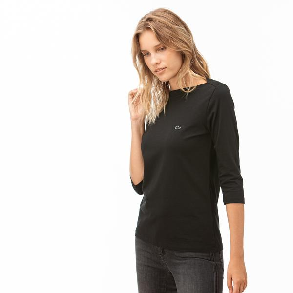 Lacoste Kadın Siyah Truvakar Kollu T-Shirt