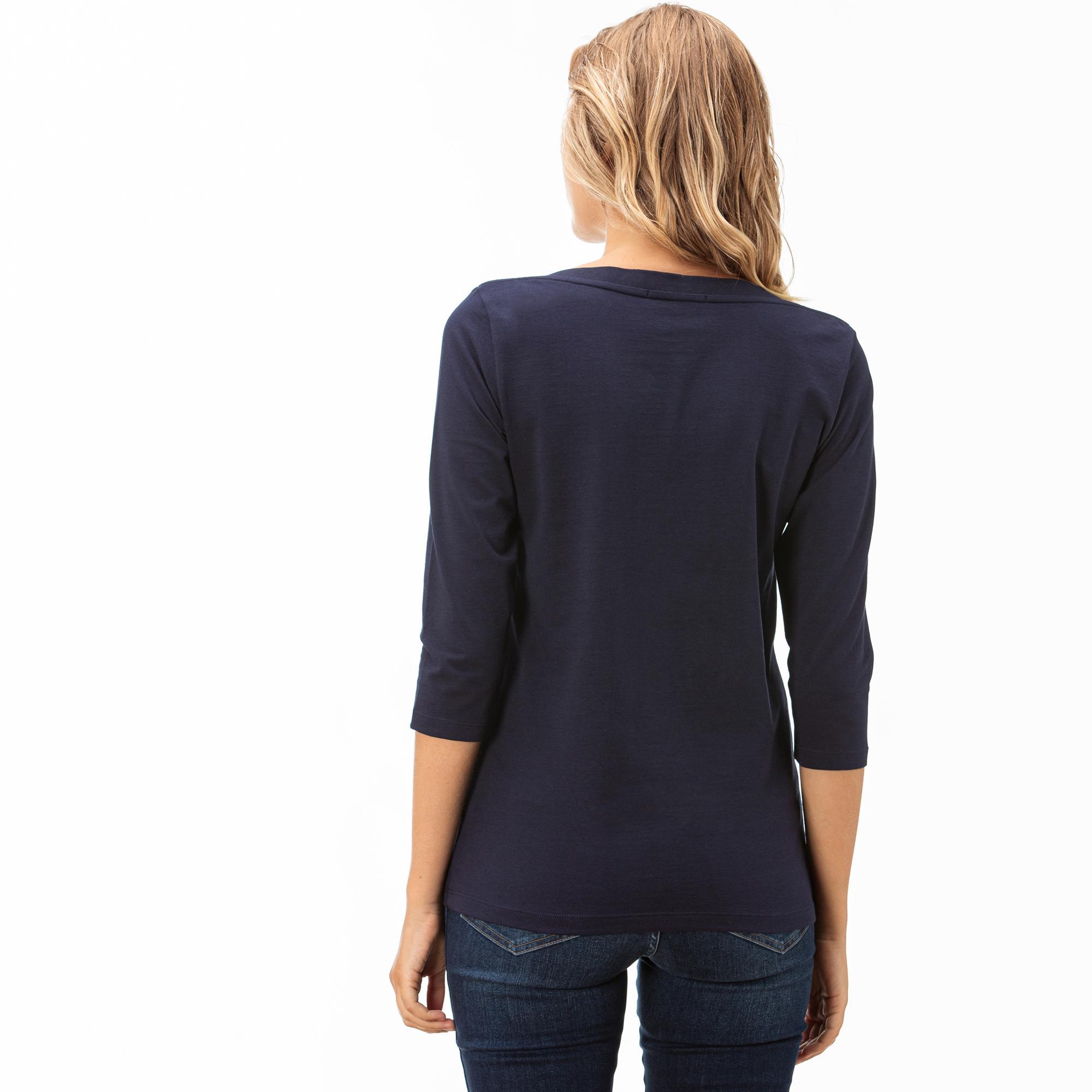 Lacoste Kadın Lacivert Truvakar Kollu T-Shirt