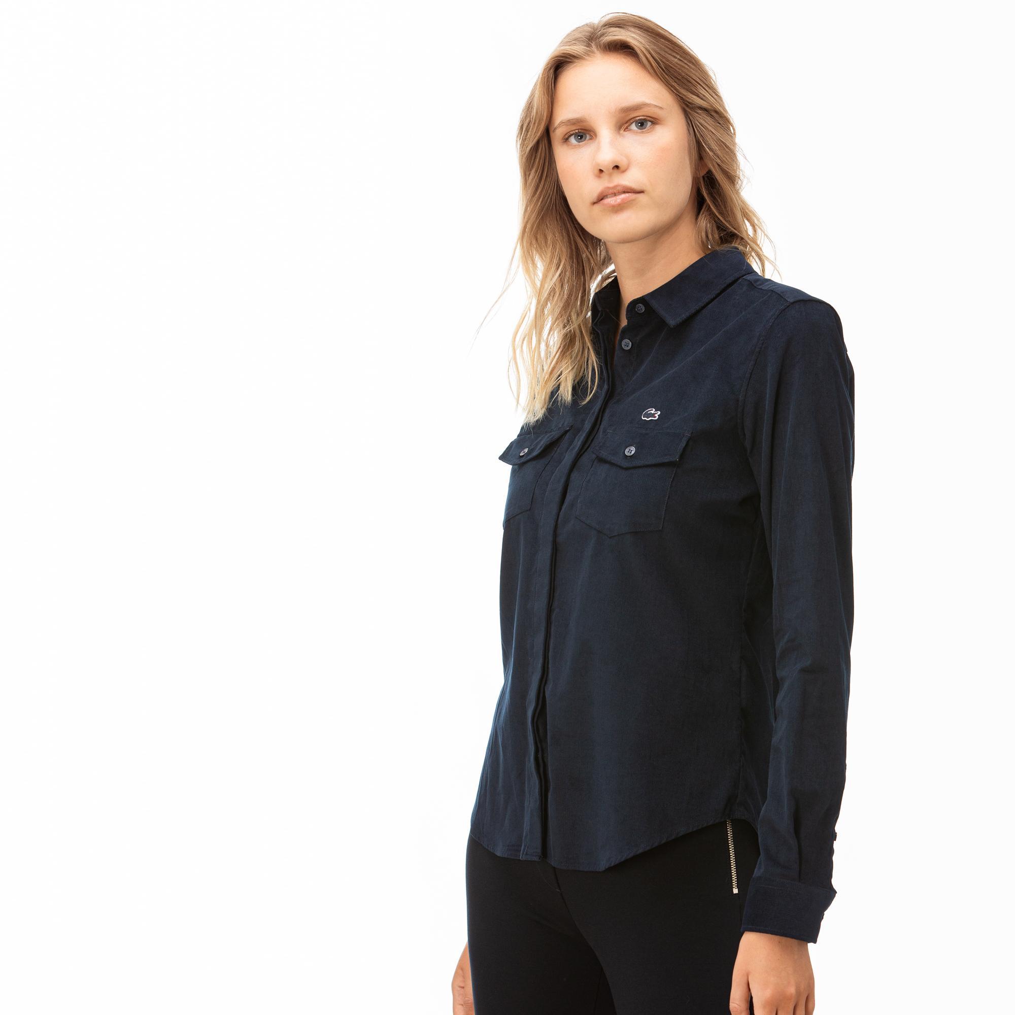Lacoste Kadın Lacivert Kadife Gömlek