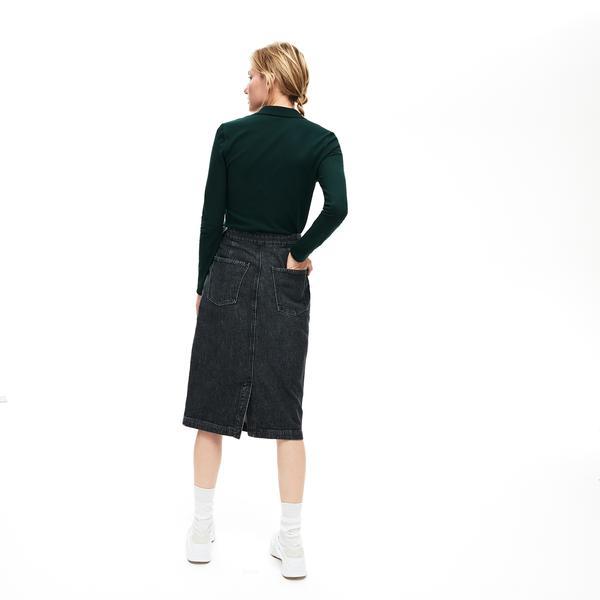 Lacoste Kadın Slim Fit Yeşil Uzun Kollu Polo