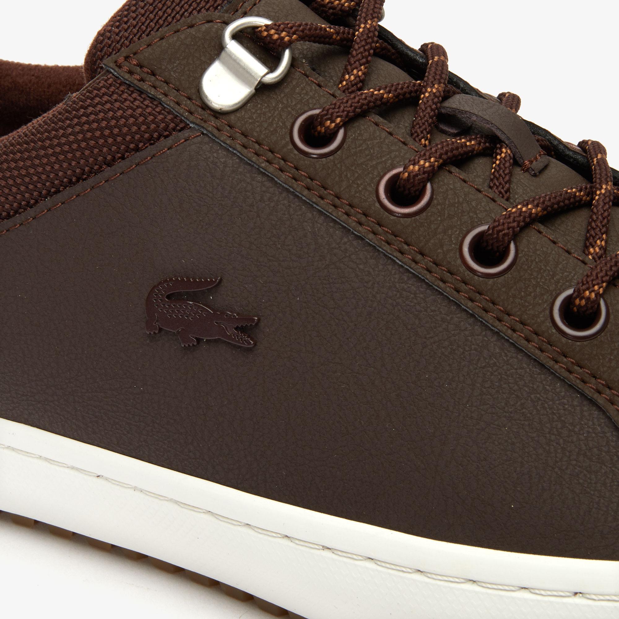 Lacoste Straightset Insulate 3192 Cma Erkek Koyu Kahverengi - Bej Sneaker