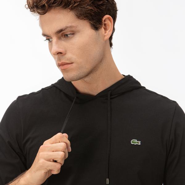 Lacoste Erkek Siyah Kapüşonlu Uzun Kollu T-Shirt