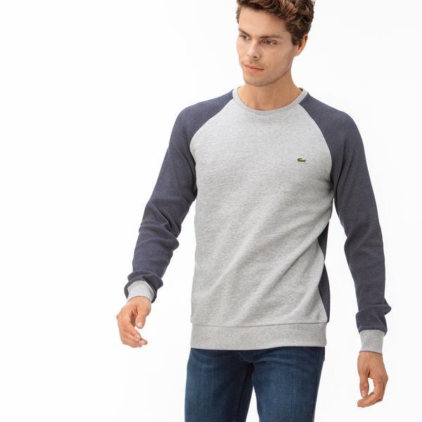 Lacoste Erkek Blok Desenli Gri Uzun Kollu T-Shirt