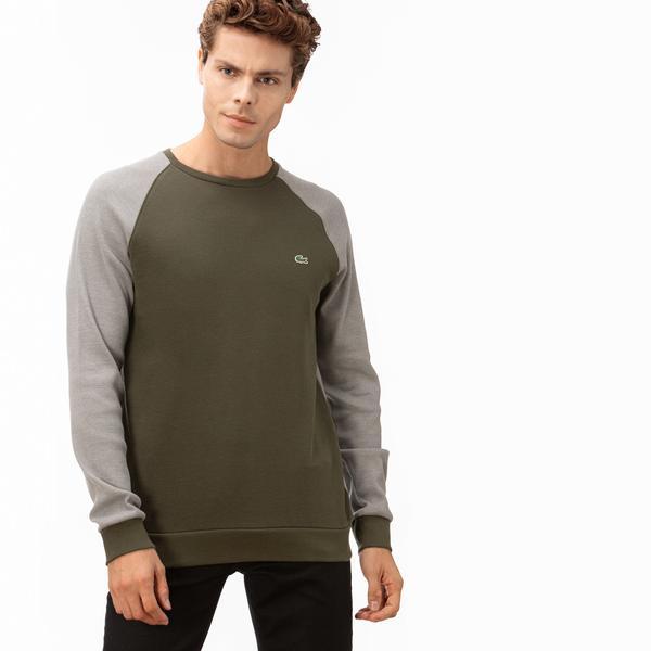 Lacoste Erkek Blok Desenli Yeşil Uzun Kollu T-Shirt