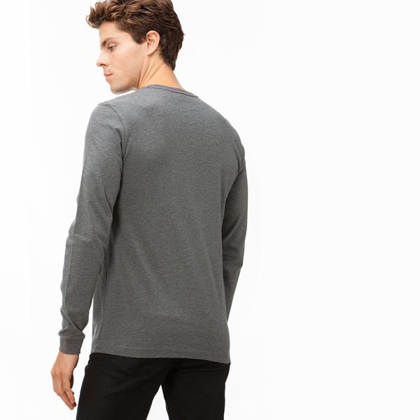 Lacoste Erkek Gri Uzun Kollu Baskılı Desenli T-Shirt