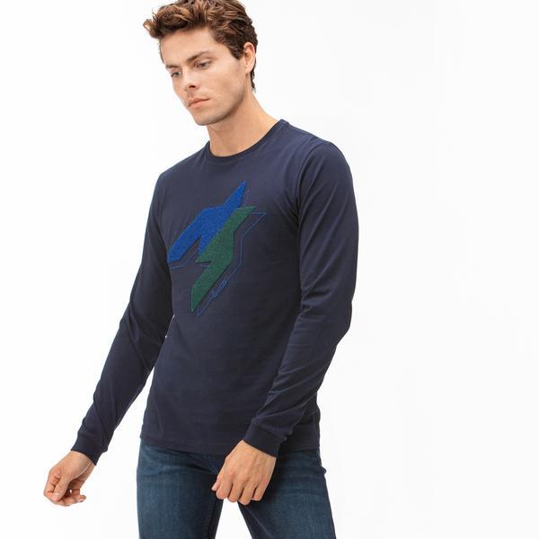 Lacoste Erkek Lacivert Uzun Kollu Baskılı T-Shirt