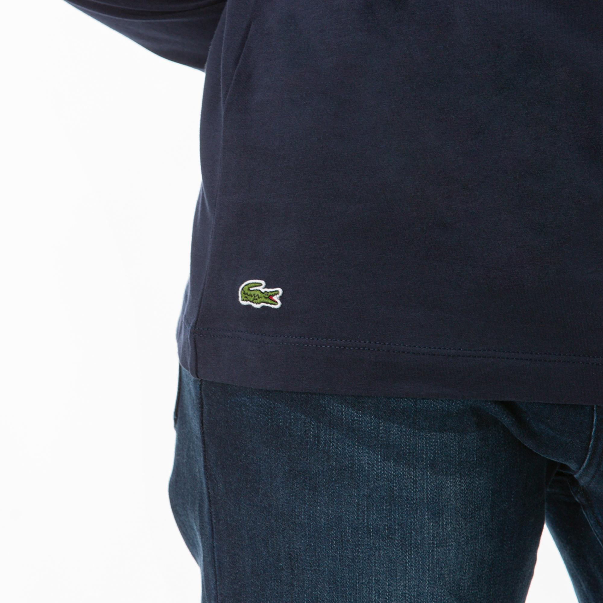 Lacoste Erkek Lacivert Uzun Kollu Desenli T-Shirt