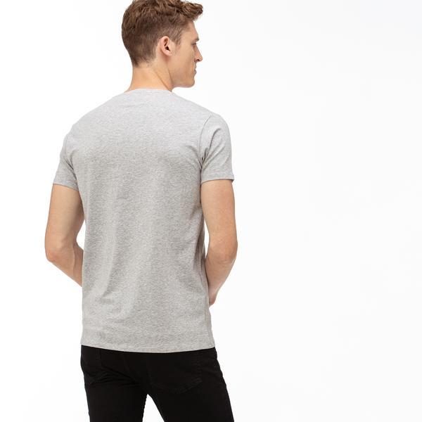 Lacoste Erkek V Yaka Gri T-Shirt
