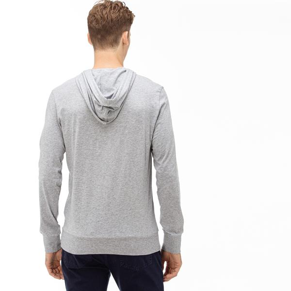Lacoste Erkek Kapüşonlu Gri Uzun Kollu T-shirt