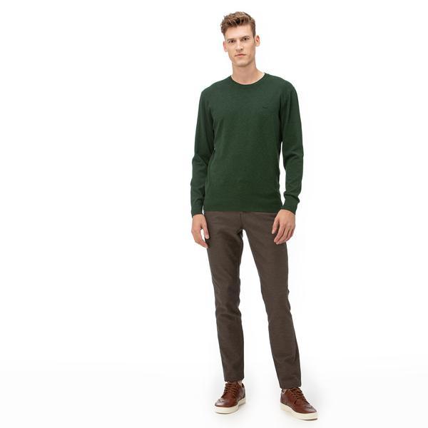 Lacoste Erkek Slim Fit Çizgili Kahverengi Pantolon