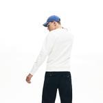 Lacoste Erkek Baskılı Bisiklet Yaka Beyaz Sweatshirt