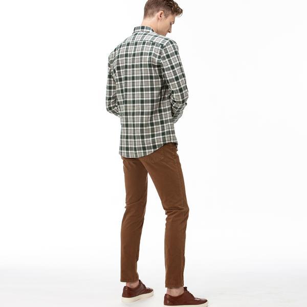 Lacoste Erkek Slim Fit Kahverengi Denim Pantolon