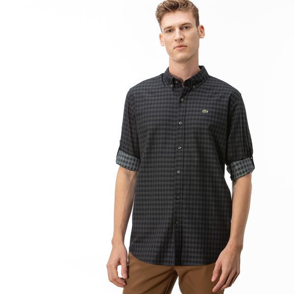 Lacoste Erkek Regular Fit Ekose Desenli Siyah Gömlek