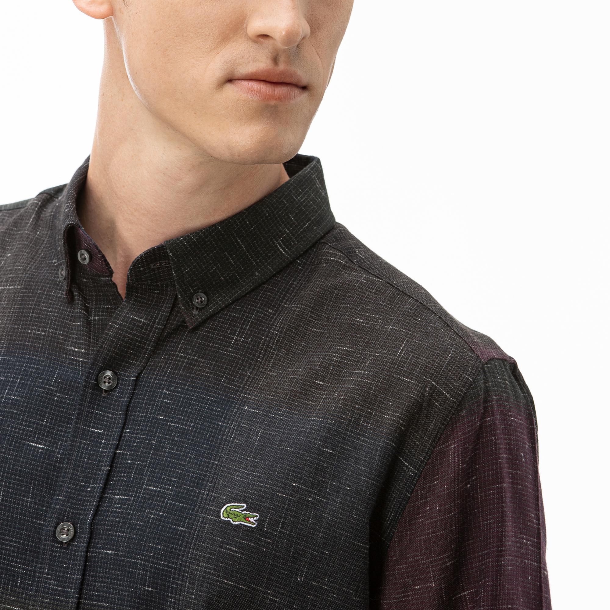 Lacoste Erkek Slim Fit Blok Desenli Bordo Gömlek