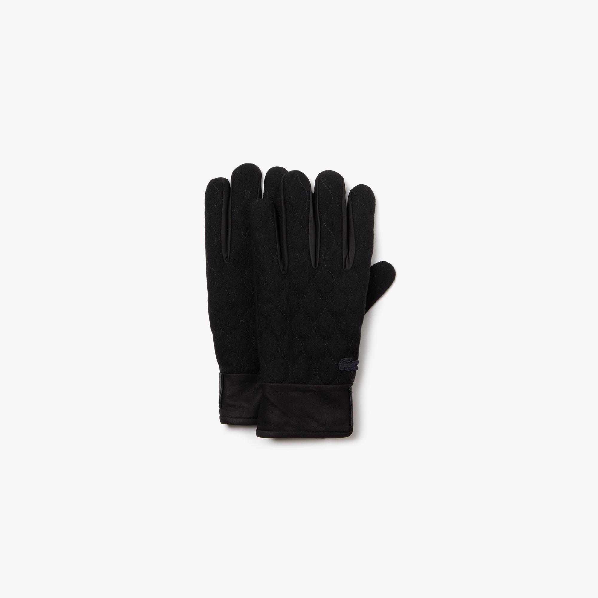 Lacoste Unisex Yün Karışımlı Kapitone Siyah Eldiven