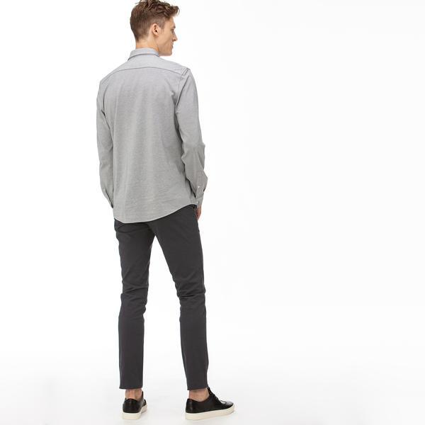 Lacoste Erkek Slim Fit Streç Gabardin Gri Chino Pantolon