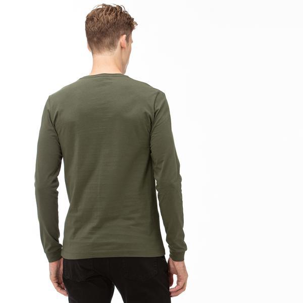 Lacoste Erkek Yeşil Uzun Kollu Baskılı T-Shirt
