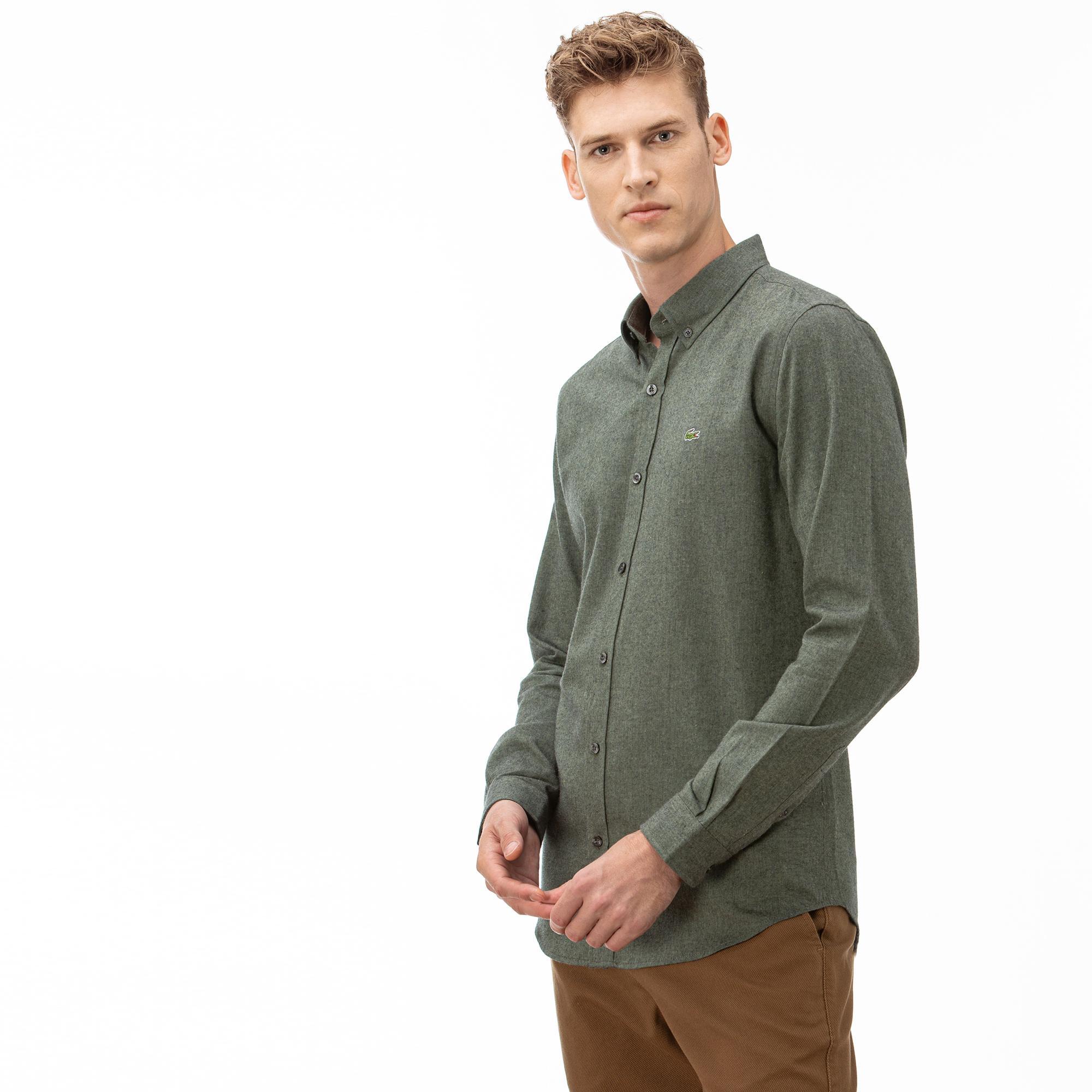 Lacoste Erkek Slim Fit Blok Desenli Yeşil Gömlek