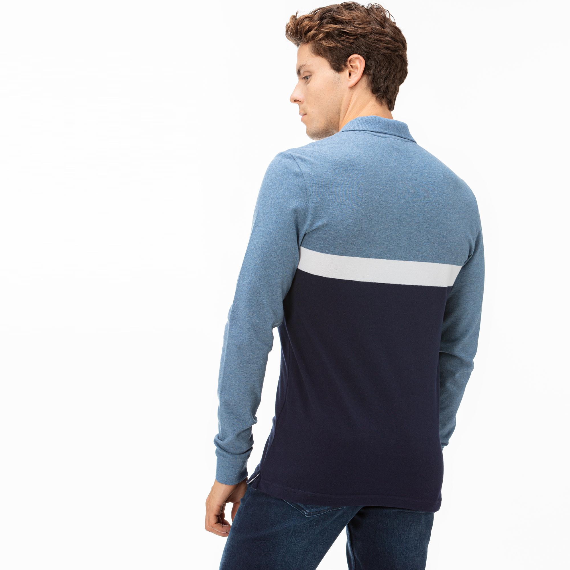 Lacoste Erkek Blok Desenli Uzun Kollu Mavi Polo