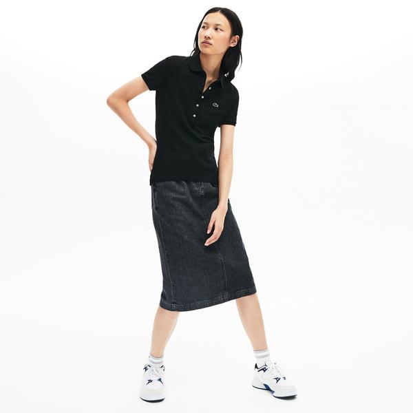 Lacoste Kadın Slim Fit Siyah Polo