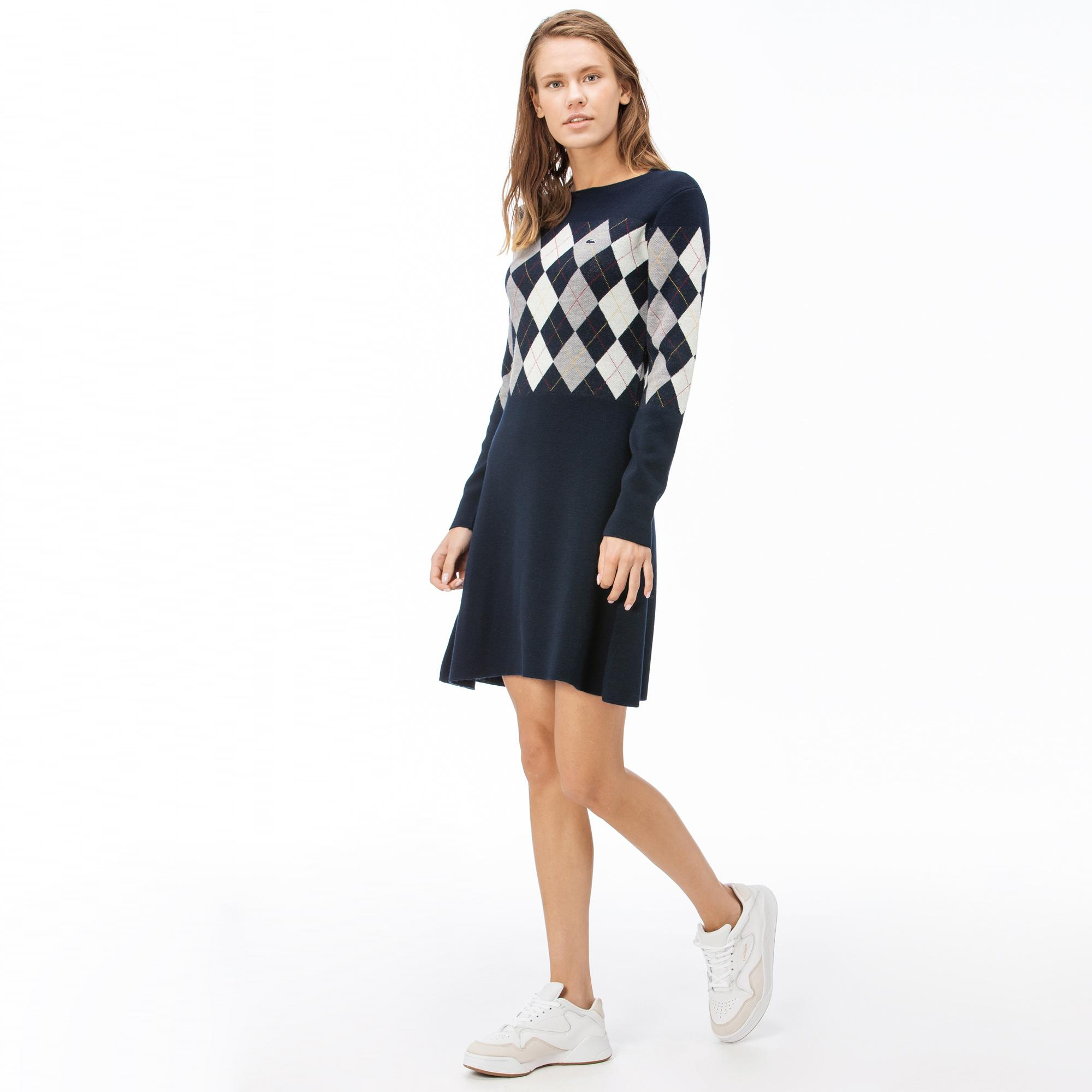 Lacoste Kadın Blok Desenli Lacivert Elbise