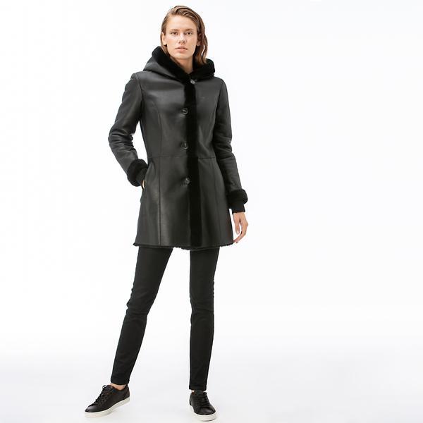 Lacoste Kadın Kürk Detaylı Siyah Deri Mont
