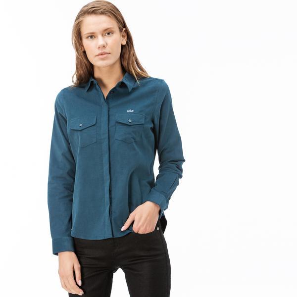 Lacoste Kadın Yeşil Kadife Gömlek