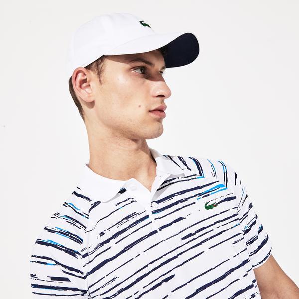 Lacoste Novak Djokovic Erkek Baskılı Beyaz Polo