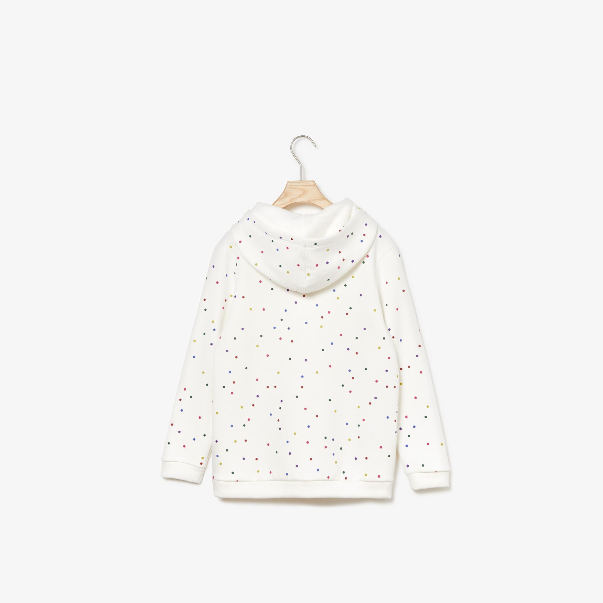 Lacoste Çocuk Baskılı Kapüşonlu Beyaz Sweatshirt