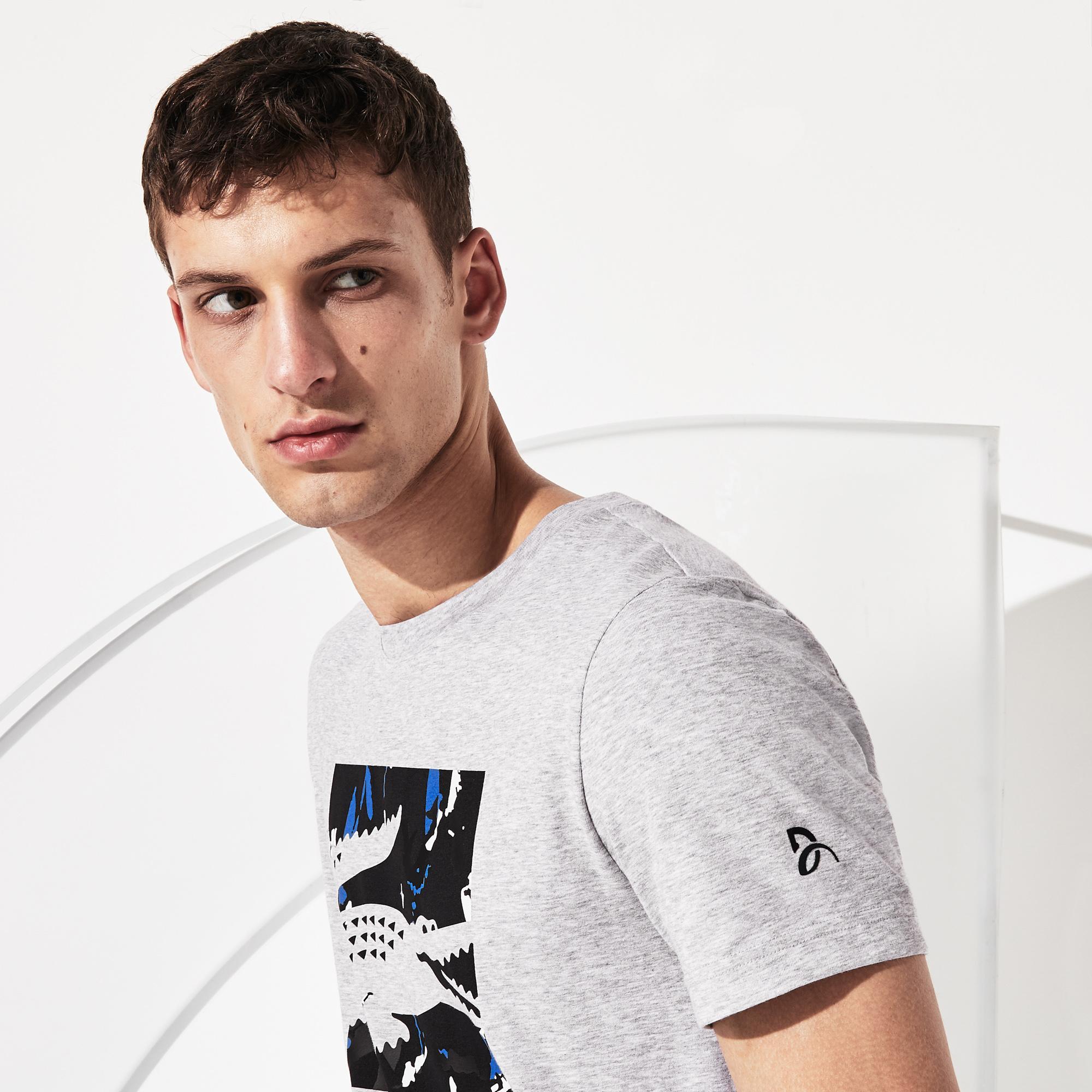Lacoste Novak Djokovic Erkek Gri T-Shirt