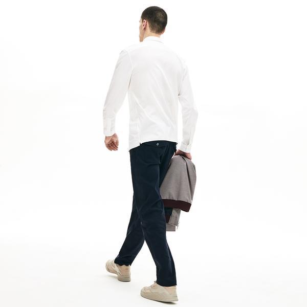 Lacoste Erkek Slim Fit Esnek Poplin Beyaz Gömlek