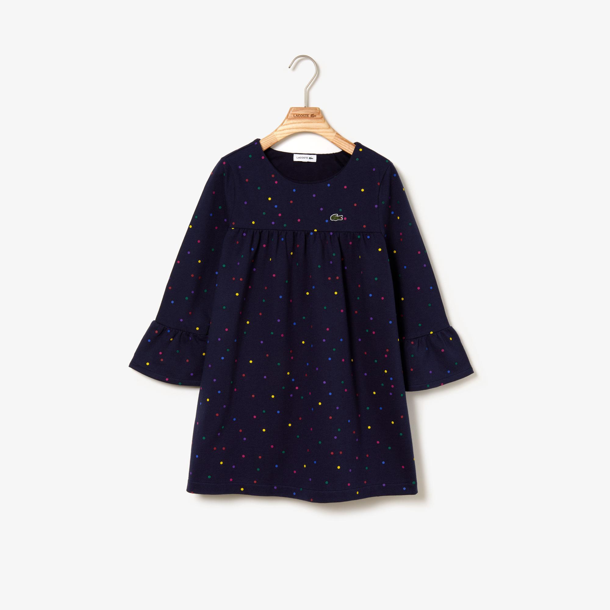 Lacoste Çocuk Puantiye Desenli Lacivert Elbise