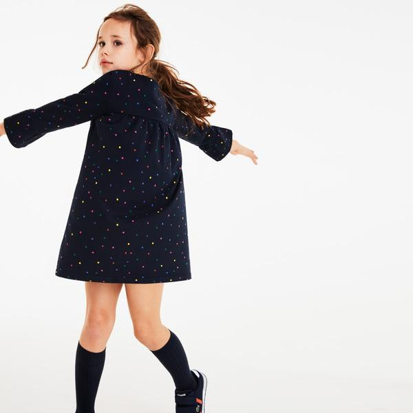 Lacoste Çocuk Puantiye Baskılı Lacivert Elbise
