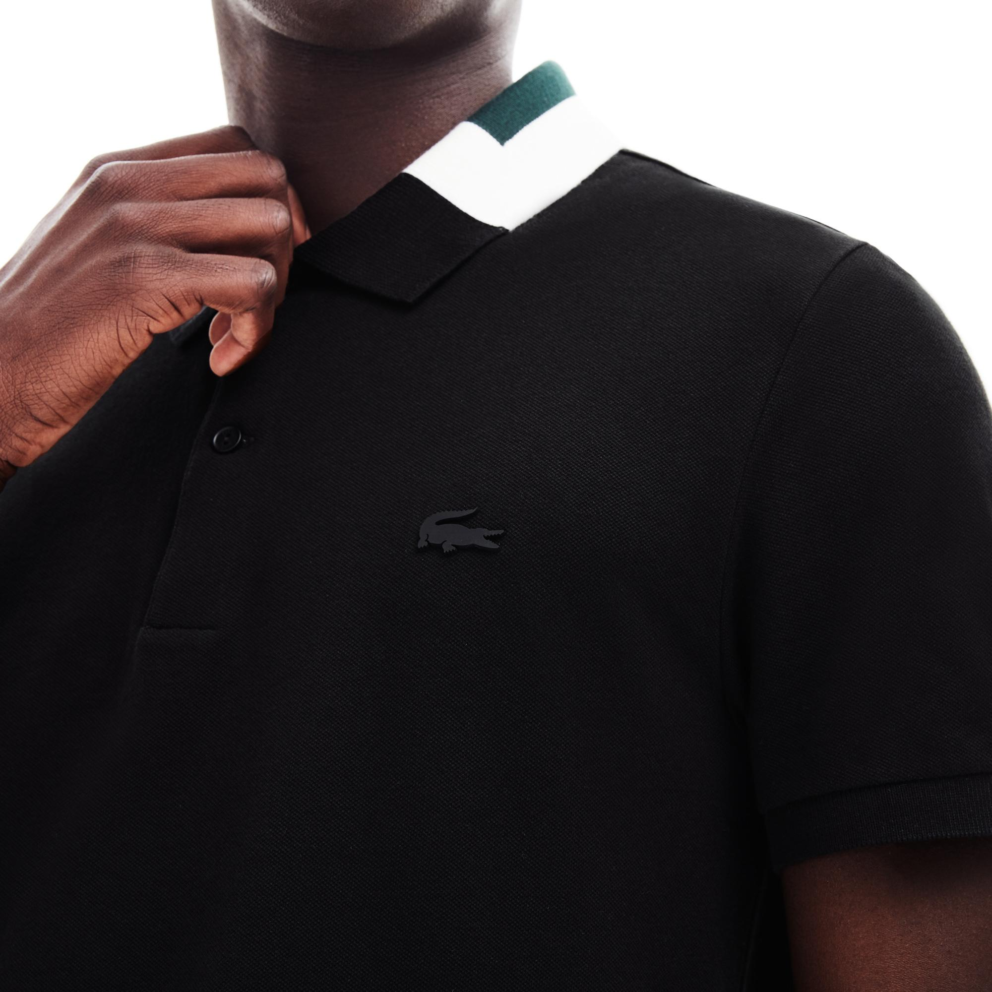 Lacoste Erkek Slim Fit Blok Desen Yakalı Siyah Polo