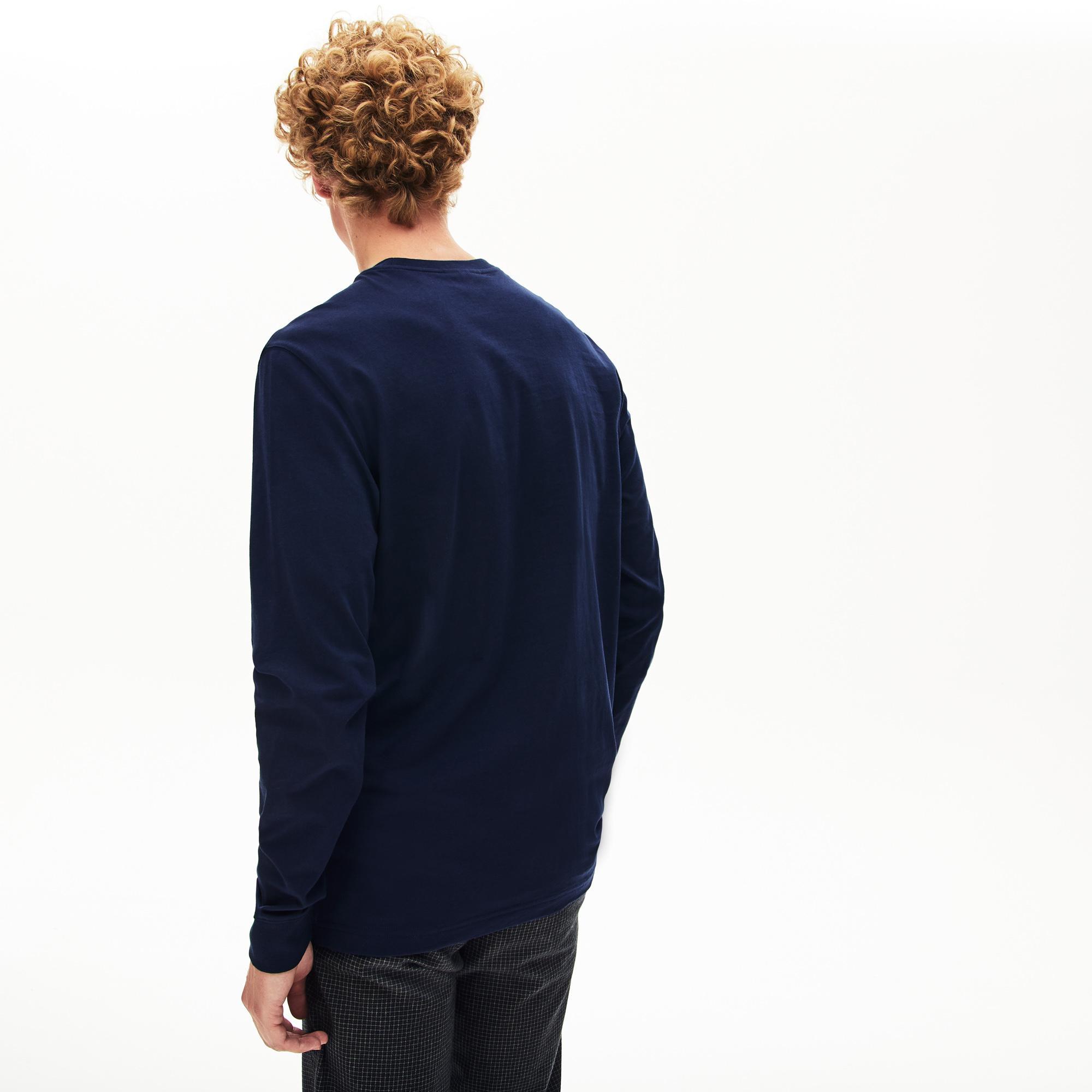 Lacoste Erkek Regular Fit Baskılı Uzun Kollu Lacivert T-Shirt