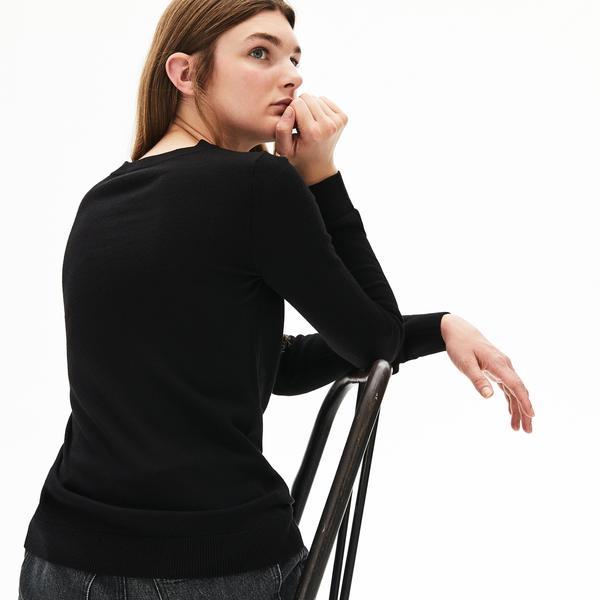 Lacoste Kadın Bisiklet Yaka Siyah Yün Triko Kazak