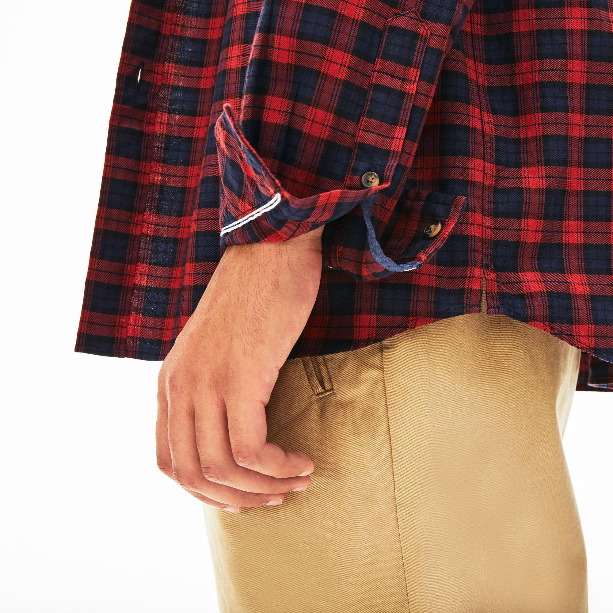 Lacoste Erkek Regular Fit Ekose Desenli Lacivert / Bordo Gömlek