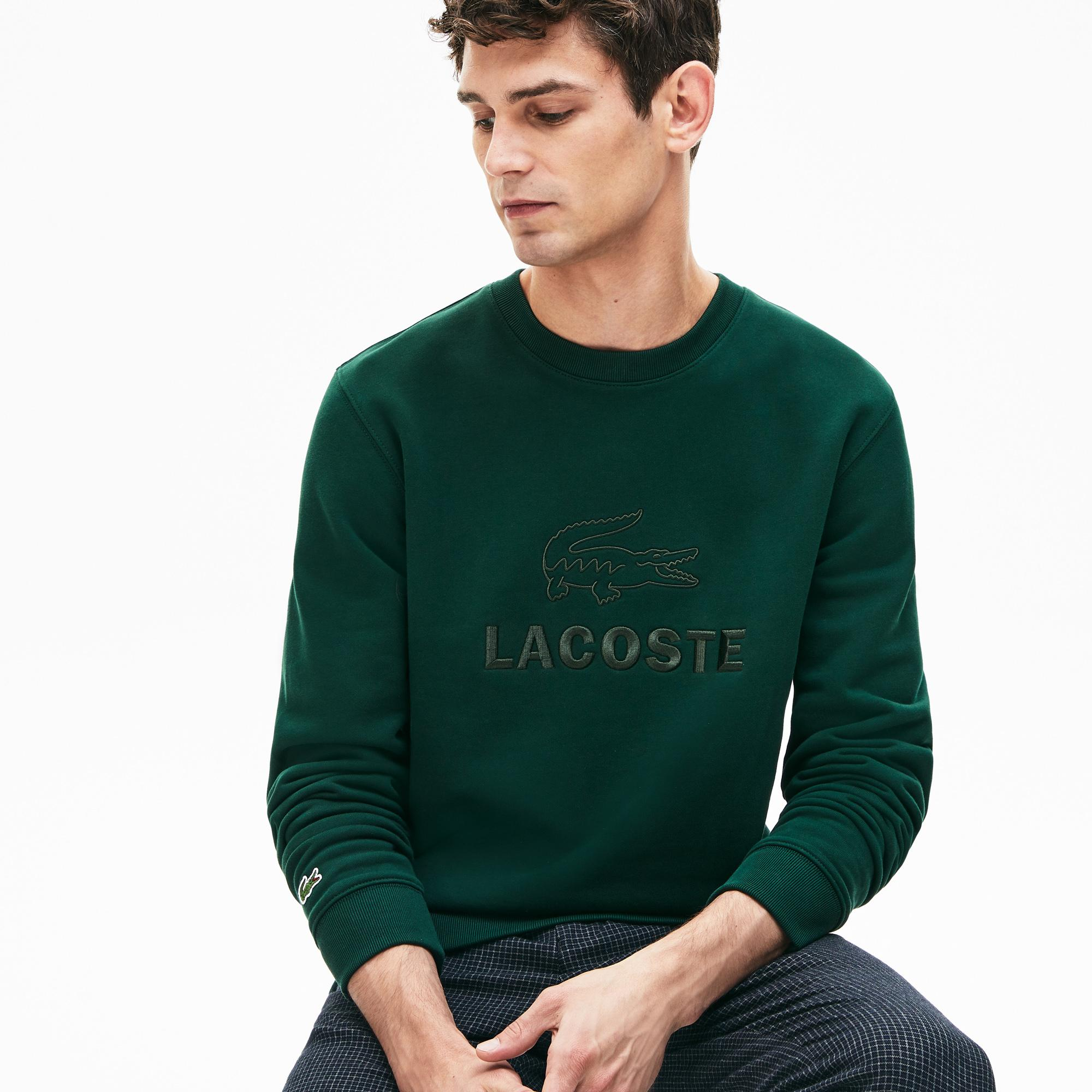 Lacoste Erkek Bisiklet Yaka Nakışlı Yeşil Sweatshirt