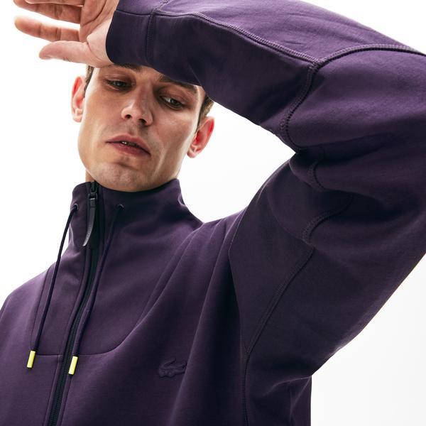 Lacoste Motion Erkek Relax Fit Dik Yaka Mor Sweatshirt