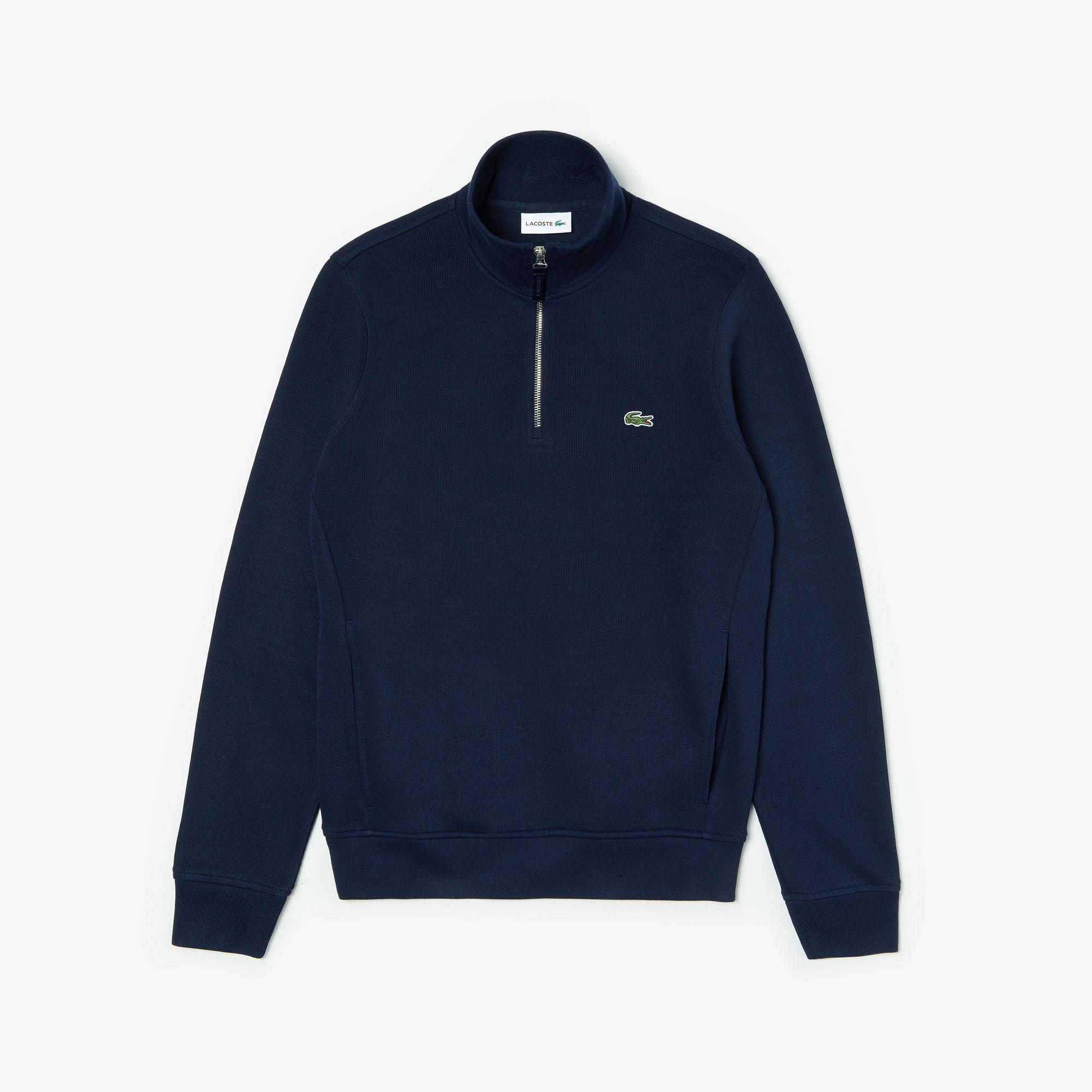 Lacoste Erkek Yaka Fermuarlı Dik Yaka Lacivert Sweatshirt
