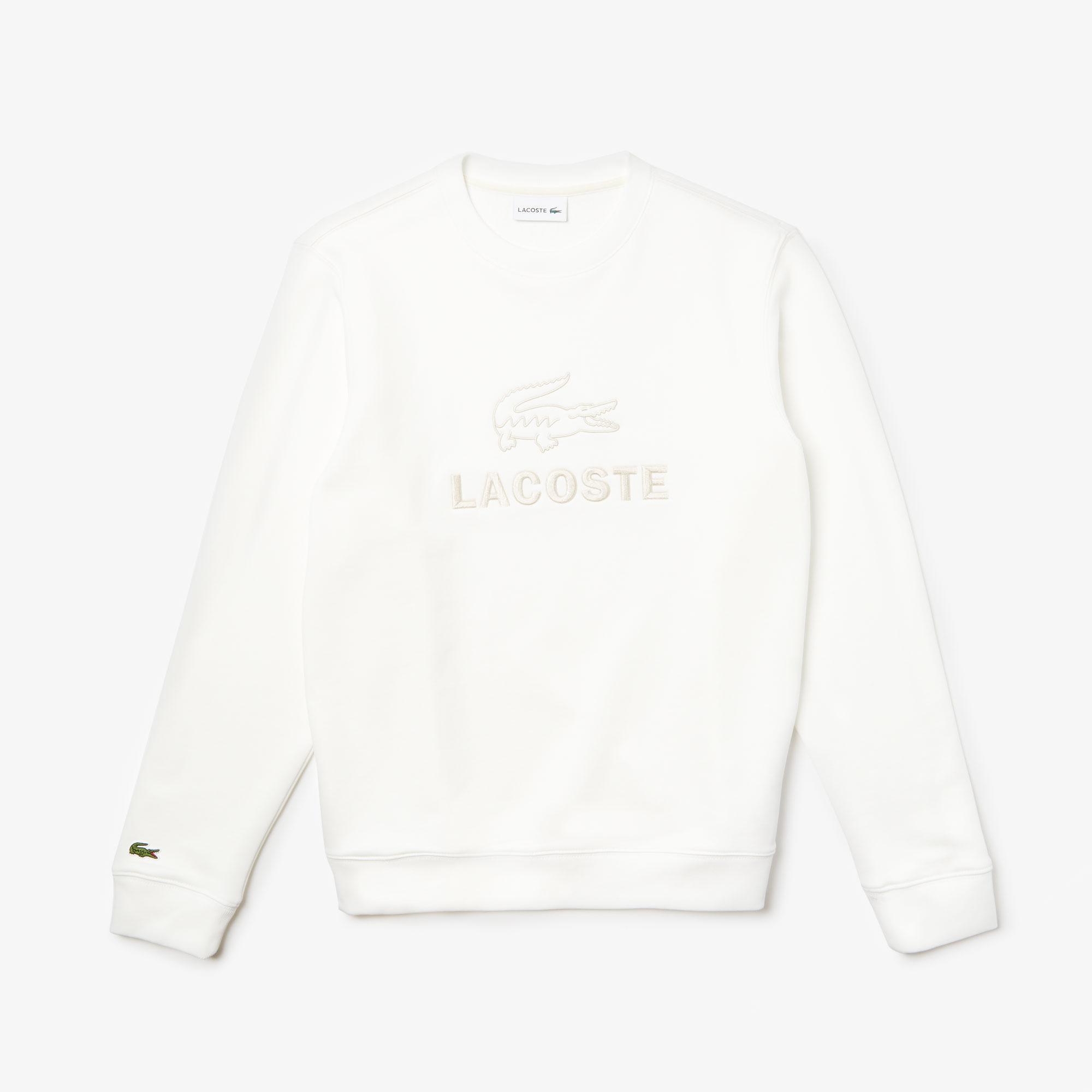 Lacoste Erkek Bisiklet Yaka Nakışlı Beyaz Sweatshirt