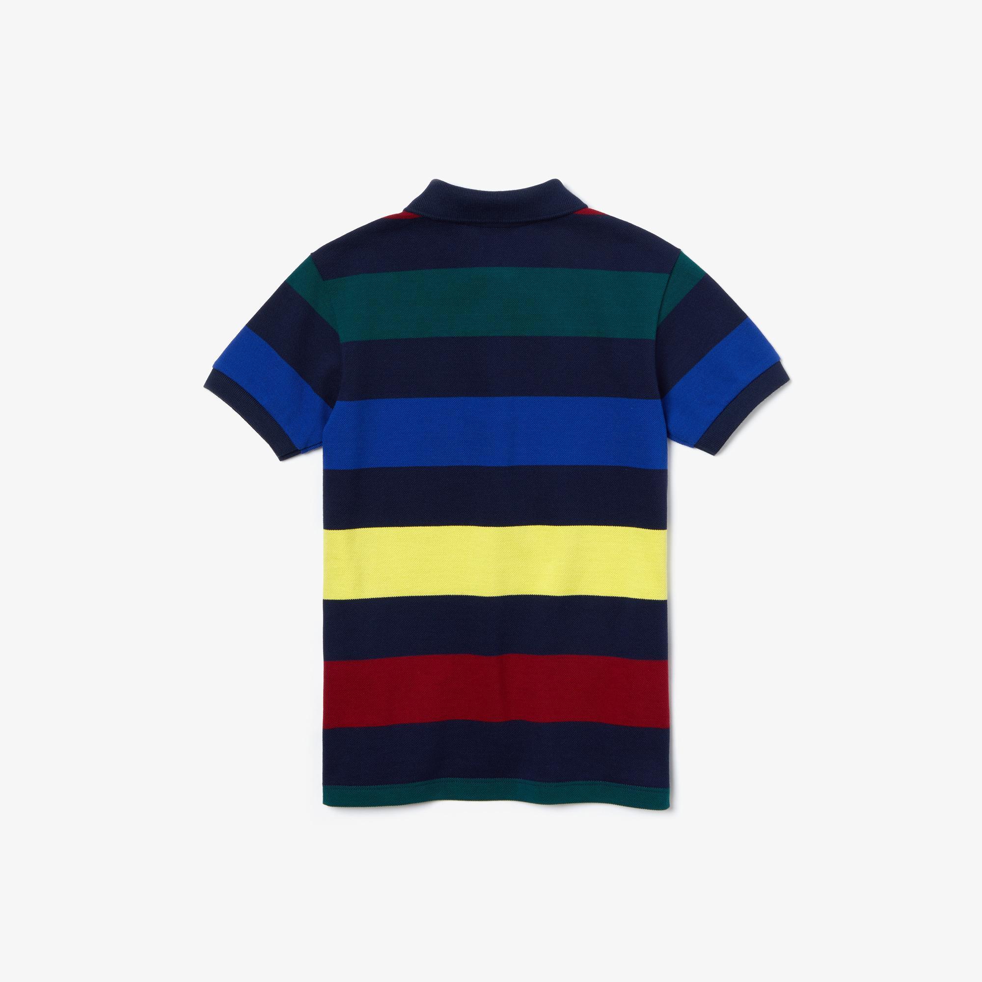 Lacoste Çocuk Blok Desenli Renkli Polo